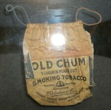 Old,Antique  OLD CHUM SMOKING TOBACCO Drawstring Pouch with Revenue Stamps-Empty