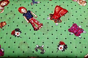 0.5 metre Spot the Children - Green 100% Cotton Fabric 142cm wide