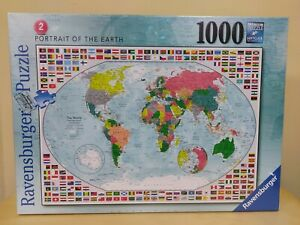 NEW Ravensburger Portrait of the Earth Flags of World Map 1000 pc Jigsaw Puzzle