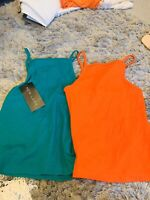 New Look Bundle 2 Top Bright Green And Orange Tops Uk 8