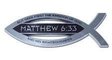 Christian Fish Chrome Car Emblem Matthew 6:33 High Quality Free Shipping!