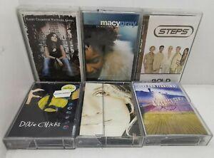 BULK LOT OF 6 MUSIC CASSETTE TAPES, 90s Pop Music, Celine, Kasey Chambers, Steps