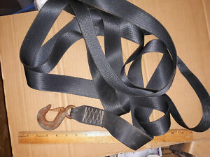 """20XX31 HOOK AND STRAP, 2"""" X 15' SEAT BELT TYPE MATERIAL, GOOD CONDITION"""