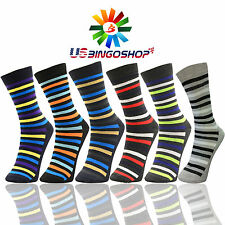 6 Pairs Ydst8 New Cotton Men Striped Style Dress Socks Size 10-13 Multi Color