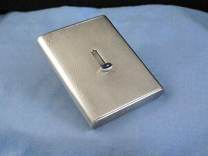 SAPPHIRE & STERLING SILVER ART DECO ANTIQUE CIGARETTE CHEROOT CASE POCKET BOX