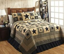 COUNTRY PRIMITIVE RUSTIC COLONIAL STAR BLACK & TAN 3PC QUEEN/FULL QUILT SET