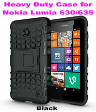 Black Heavy Duty Strong Tradesman TPU Case Cover Stand For Nokia Lumia 630/635