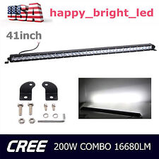 Slim 41inch 200W Led Light Bar Single Row COMBO Driving Truck Off-road Vehicle