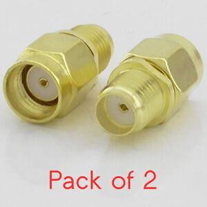 2x RP-SMA Male Plug to SMA Female Socket Reverse Polarity SMA Jack RF Adaptor