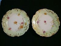 """2 GERMAN Rosenthal Gold Gilt 7 5/8"""" Plates Painted Flowers, Really Nice"""