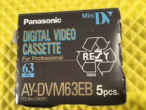 Panasonic Mini DV Digital Video Cassette AY-DVM63EB New 5 Pack Sealed Cassettes