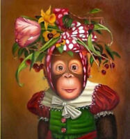 CHENPAT461 animal monkey flower on head art hand-painted oil painting on canvas