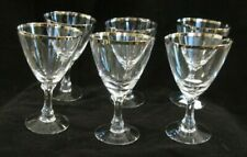 6 FOSTORIA  WEDDING RING GOBLETS   PLATINUM RIM  SIGNED  qY