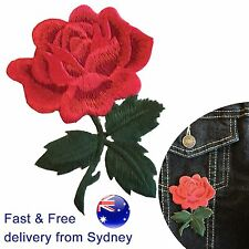 Rose Iron on patch  - flower blossom stem leaves applique love symbol embroidery