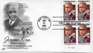 US Scott #2110, First Day Cover 1/23/85 New York Plate Block Jerome Kern