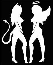 """MUD FLAP, STANDING ANGEL & DEVIL GIRLS, 4""""x 10"""" white vinyl decals"""