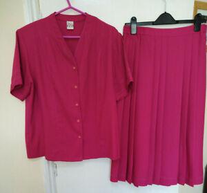 Elvi jacket & pleated skirt suit set fuschia pink short sleeve Summer event UK16