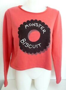 pull court ♥ NAFNAF ♥ T M Taille 38 40 Haut sweat Monster biscuit  corail femme