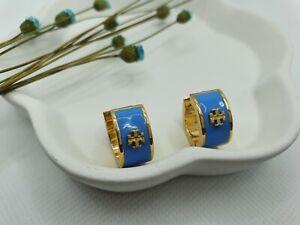 Tory Burch Blue Enamel Hoop Earrings