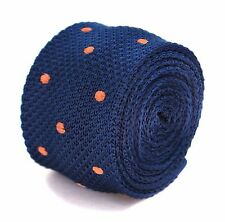 Frederick Thomas navy blue skinny knitted tie with orange polka spots FT2039