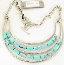 Robert Lee Morris SOHO Silver Tone Turquoise-Colored Bead Frontal Necklace NEW