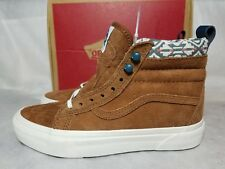 Vans New SK8 Hi MTE Suede Leather Monks Robe Brown White Fur Shoe Women's 5.5