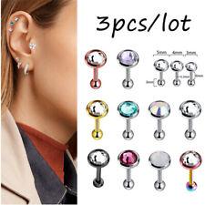 3Pcs/Lot Crystal Cartilage Barbell Earrings Women Ear Stud Body Piercing Jewelry