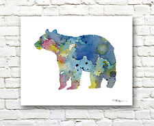 Brown Bear Abstract Watercolor Painting Wildlife Art Print by Artist DJ Rogers