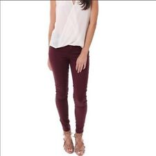 7 For All Mankind B(air) Denim Size 24 Burgundy Ankle Skinny Mulberry Pants