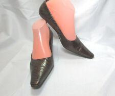 Enzo Angiolini Brown Leather Croc Print Kitten Heel Classic Pumps Size US 7.5 M