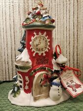 Blue Sky Clayworks Village Christmas Shop Clock Tower Tealight Candle House