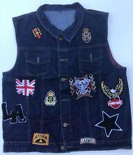 Mens Jeans Vest Jacket Sleeveless Ripped Denim Patchwork Trucker EAGLE Size XXL