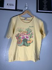 Vintage Anvil Santa Fe New Mexico NM The Desert In Bloom Cactus Yellow Shirt Top