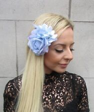Light Pale Blue Rose Hydrangea Flower Hair Clip Fascinator Bridesmaid 1950s 5774