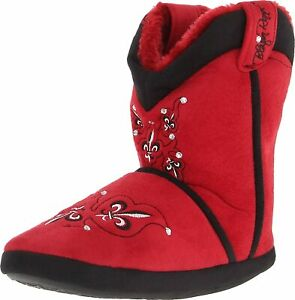 Ladies Fleur with Crystal Boot Slipper Red