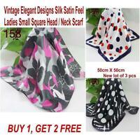 Lot 3 Pcs New Fashion Elegant Silk Satin Womens Small Square Head Neck Scarf 041