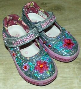 Toddler Girl's Size 6 Lelli Kelly Pretty Baby 9435 Pewter Mary Jane Beaded Shoes
