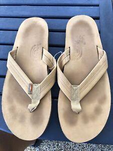 Men's Rainbow Tan Leather Flip Flop Sandals 2xl Xxl