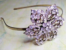 New Antique Gold Tone Flower Power Crystal Flower Vintage Side Tiara Headband