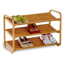 Shoe Rack Organizer 3-Tier Bamboo Material Bedroom Closet Mudroom 12 Pairs Store