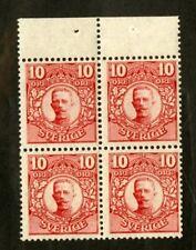Sweden Stamps # 80b VF OG NH Pane Of 4