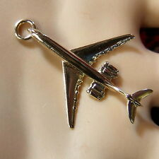 9 ct GOLD  new solid jet plane charm