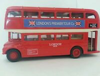 DIE CAST METAL LONDON RED BUS PULL BACK AND GO ACTION BRITISH UK SOUVENIR GIFT