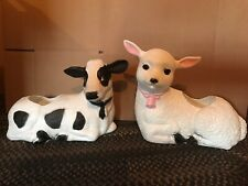 Blow Mold Cow  And Lamb Plastic Planter Farm Decor Union Products New