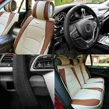 Car Seat Cover Leatherette 5 Seats Full Set Beige Tan w/ Black Steering Cover