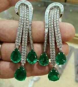Green Pear drop 925 Sterling Silver White Round CZ Statement Dangle Earrings