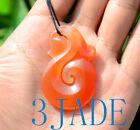 Red+Agate%2FCarnelian+Manaia+Koru+Pendant+Necklace+NZ+Maori+Carving