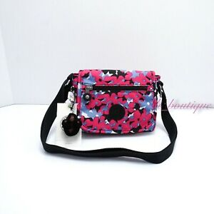 NWT Kipling AC8282 Sabian Crossbody Mini Shoulder Bag Nylon Spicy Pink Multi $49
