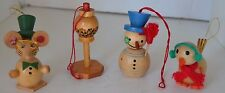 Vintage Wood Mouse Snowman Bird Christmas Ornament Lot of 4
