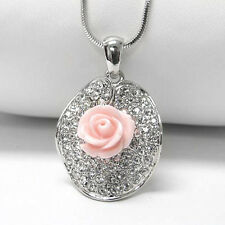 Pink Rose on Crystal Lillypad Pendant White Gold Plated Necklace 16""